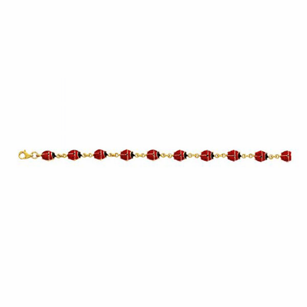 "14K 7"" Yellow Gold Enamel Ladybug Fancy Bracelet"