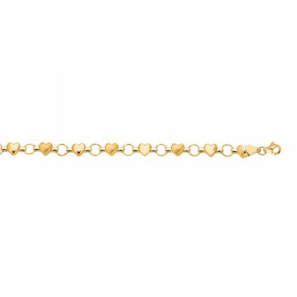 "14K 7"" Yellow Gold Textured Heart Fancy Bracelet"