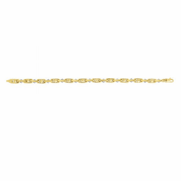"14K 8.25"" Yellow/White Gold Shiny Smaller Oval Alternate Link Bracelet"