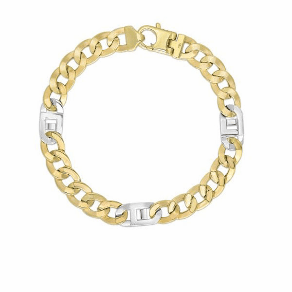 "14K 8.5"" Yellow/White Gold 7mm Diamond Cut Mariner Link Fancy Bracelet"