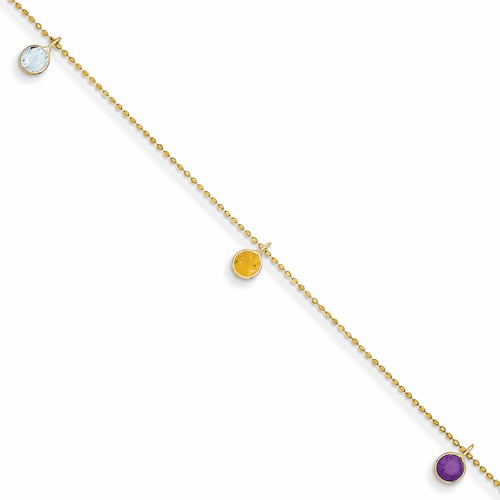 14k 9 Inch Multi-colored Gemstone Anklet Ank145-9