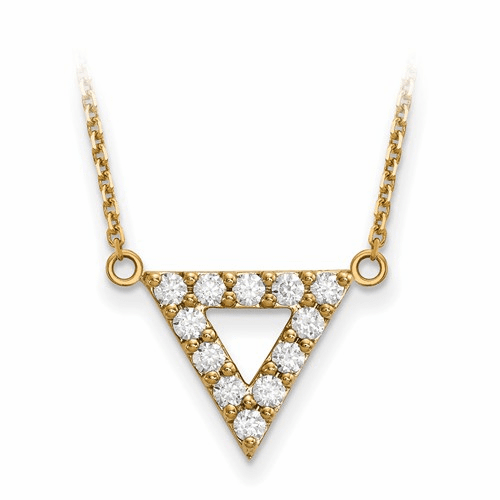 14k A Quality Diamond 13mm Triangle Necklace Xp5012a