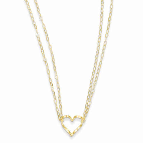 14k Adjustable Double Strand Heart Necklace Fb1296-16