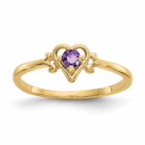 14k Amethyst Birthstone Heart Ring Yc425