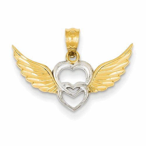 14k And Rhodium Heart With Wings Pendant Yc790