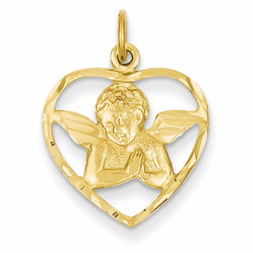 14k Angel In Heart Charm C343
