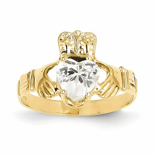 14k April Birthstone Claddagh Ring R490