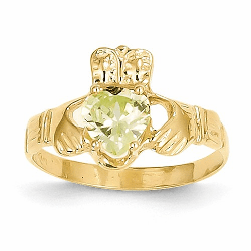 14k August Birthstone Claddagh Ring R494