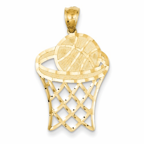 14k Basketball In Hoop Diamond Cut Pendant C3584