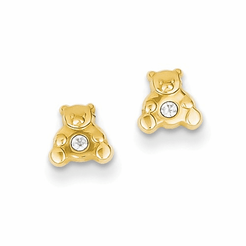 14k Bear With Cz Earrings Ye600