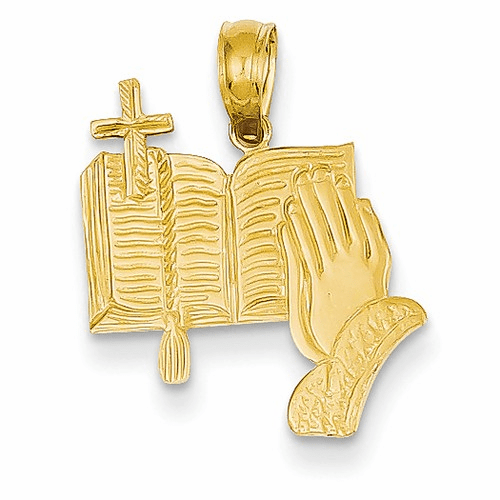 14k Bible, Praying Hands, And Cross Pendant C4419