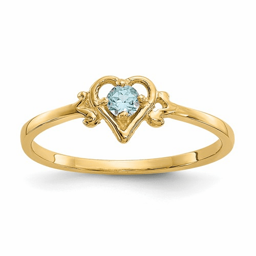 14k Blue Topaz Birthstone Heart Ring Yc435