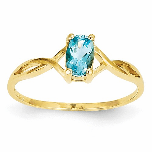14k Blue Topaz Birthstone Ring Xbr237