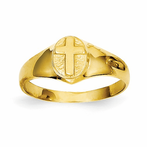 14k Childs Polished Cross Ring R186