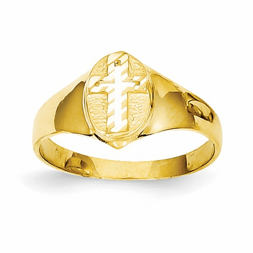 14k Childs Polished Cross Ring R192