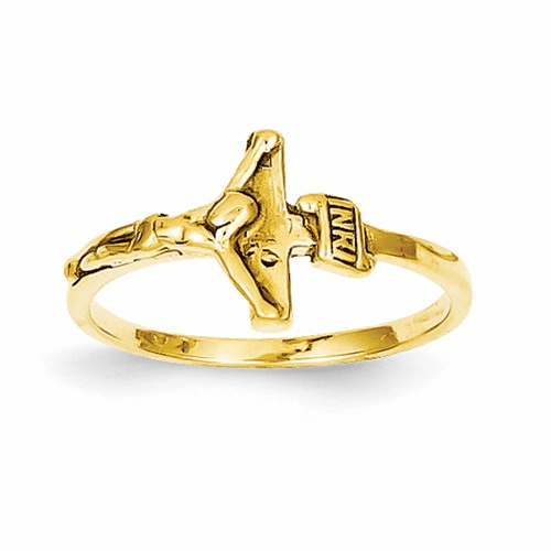 14k Childs Polished Crucifix Ring R190