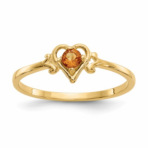14k Citrine Birthstone Heart Ring Yc434