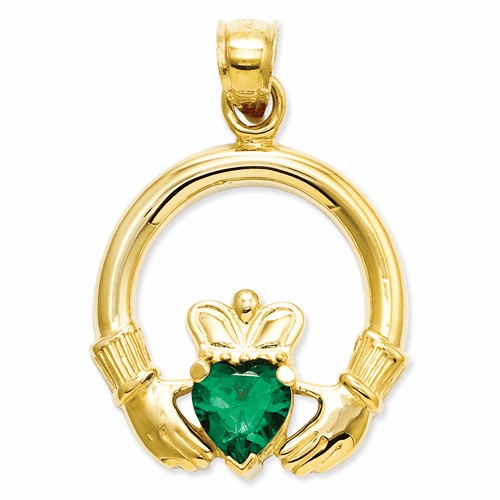 14k Claddagh With Synthetic Green Stone Pendant D659