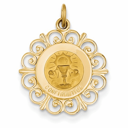 14k Confirmation Medal Charm Xr364