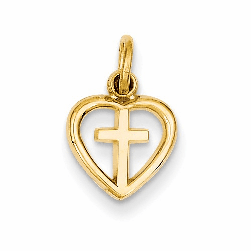 14k Cross In Heart Charm C1947