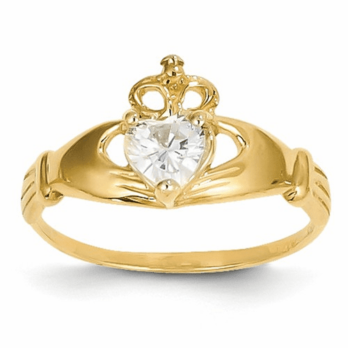 14k Cz April Birthstone Claddagh Heart Ring D1795
