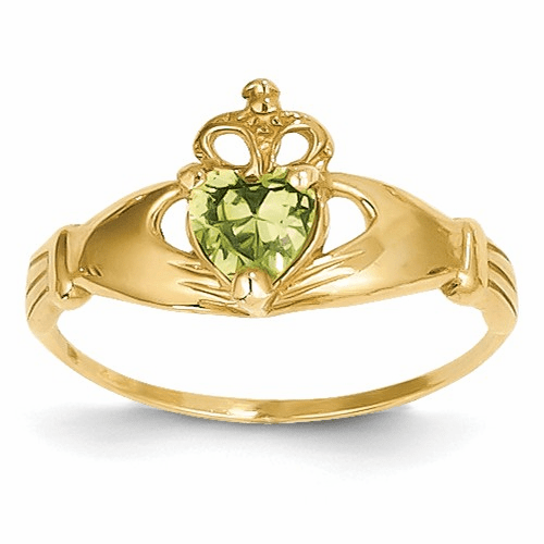 14k Cz August Birthstone Claddagh Heart Ring D1799