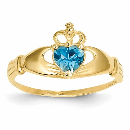 14k Cz December Birthstone Claddagh Heart Ring D1803