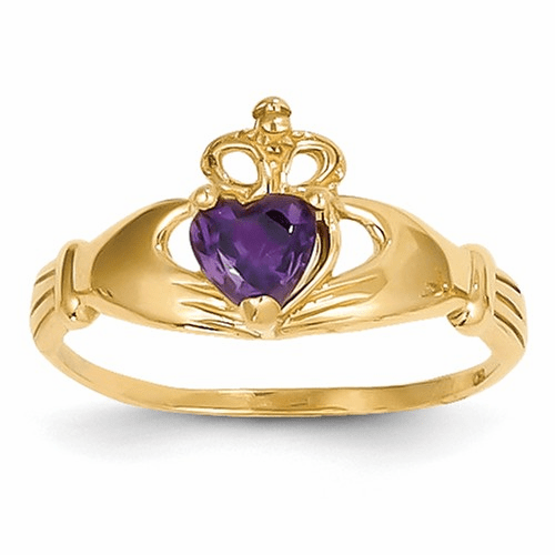 14k Cz February Birthstone Claddagh Heart Ring D1793
