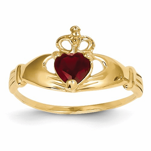 14k Cz January Birthstone Claddagh Heart Ring D1792