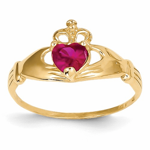 14k Cz July Birthstone Claddagh Heart Ring D1798