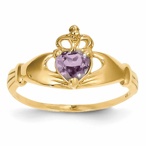 14k Cz June Birthstone Claddagh Heart Ring D1797