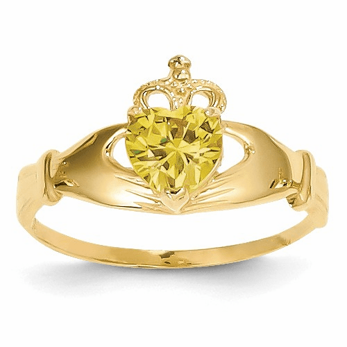 14k Cz November Birthstone Claddagh Heart Ring D1802