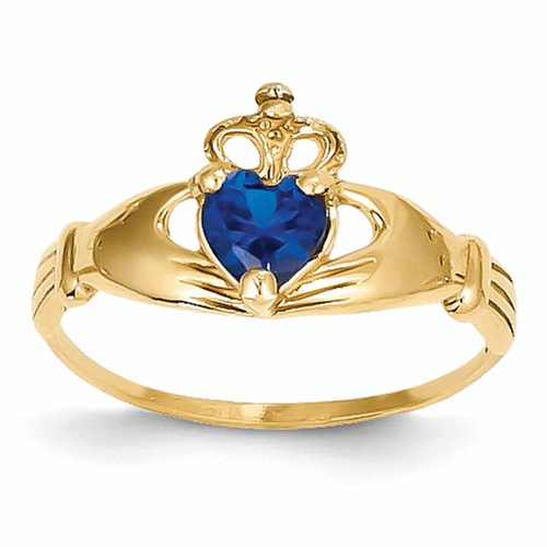 14k Cz September Birthstone Claddagh Heart Ring D1800
