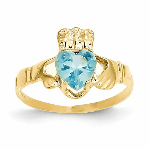 14k December Birthstone Claddagh Ring R498