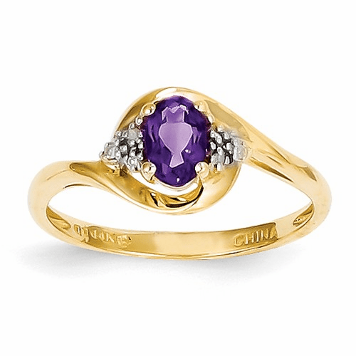 14k Diamond & Amethyst Ring Xbs405