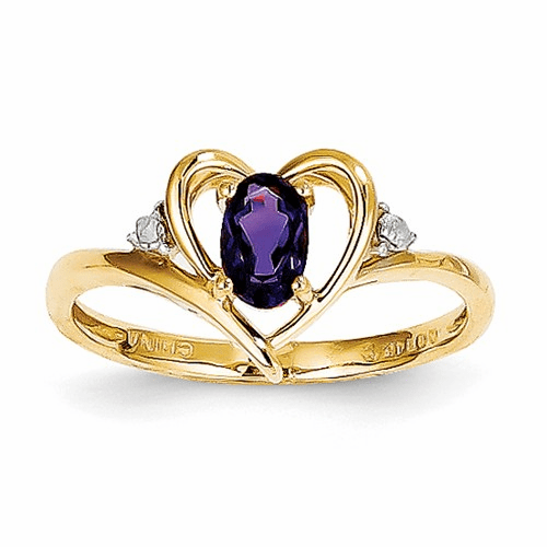 14k Diamond & Amethyst Ring Xbs477