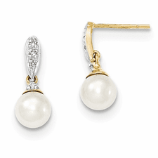 b1180abb6 14k Diamond And 6-7mm Round Fw Cultured Pearl Post Dangle Earrings