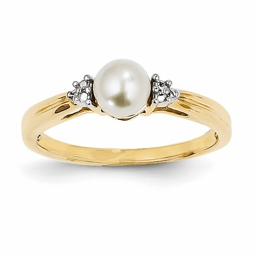 14k Diamond And Fw Cultured Pearl Ring Y11646aa