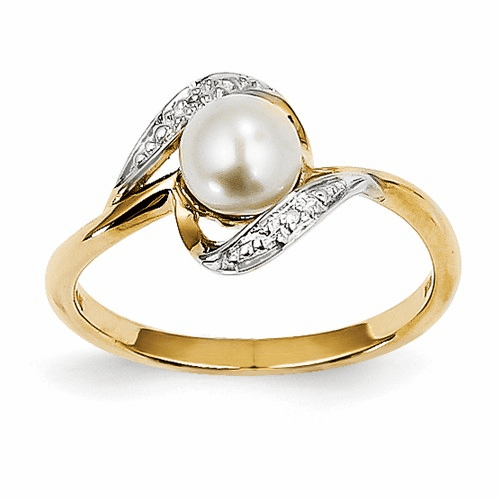 14k Diamond And Fw Cultured Pearl Ring Y11649aa