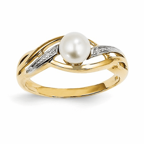 14k Diamond And Fw Cultured Pearl Ring Y11650aa