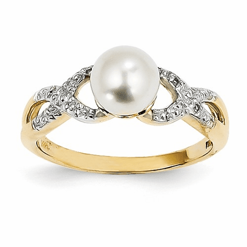 14k Diamond And Fw Cultured Pearl Ring Y11651aa