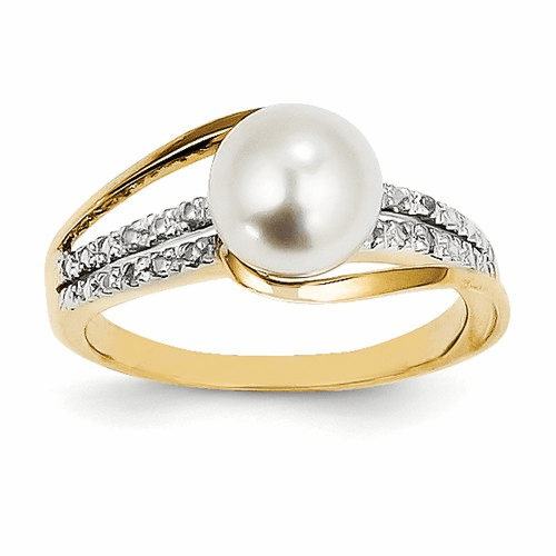 14k Diamond And Fw Cultured Pearl Ring Y11652aa