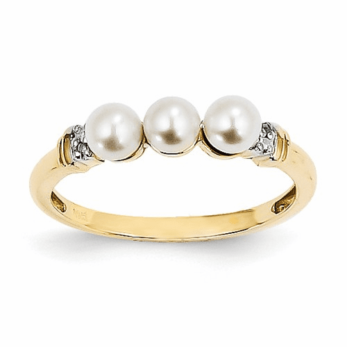 14k Diamond And Fw Cultured Pearl Ring Y11654aa