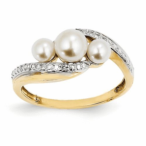 14k Diamond And Fw Cultured Pearl Ring Y11655aa