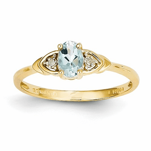 14k Diamond & Aquamarine Ring Xbs266