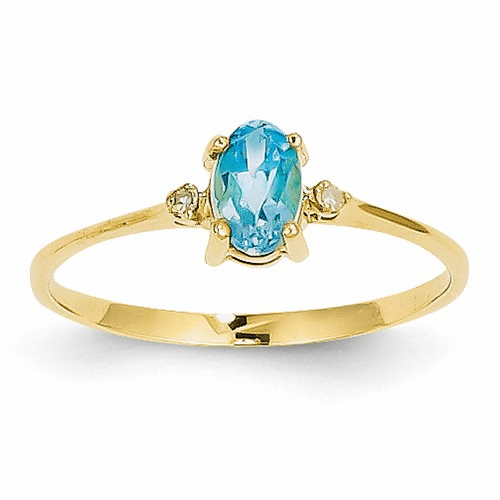 14k Diamond & Blue Topaz Birthstone Ring Xbr213