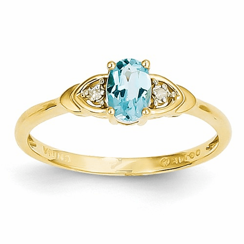 14k Diamond & Blue Topaz Ring Xbs285