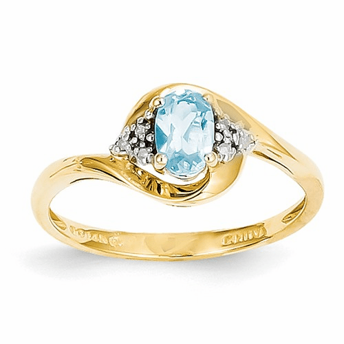 14k Diamond & Blue Topaz Ring Xbs429