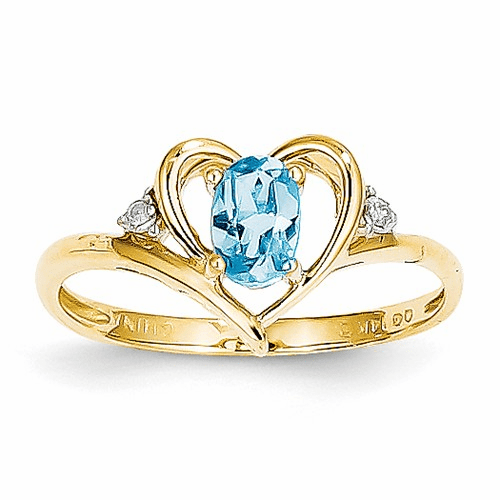 14k Diamond & Blue Topaz Ring Xbs501