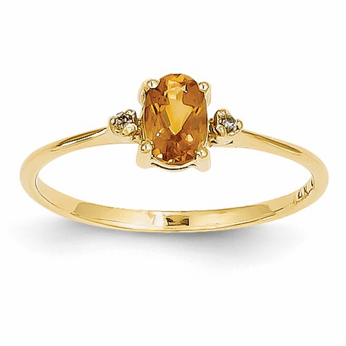 14k Diamond & Citrine Birthstone Ring Xbr212